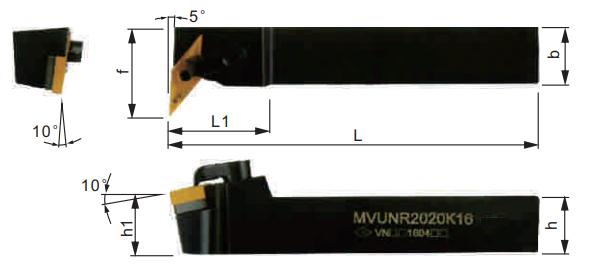 MVUNR-Klemmhalter-Abmessungen