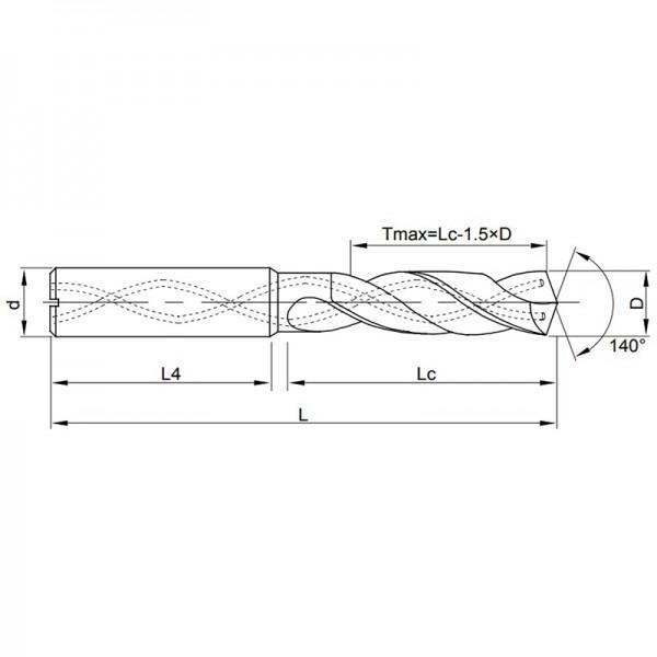 VHM-Spiralbohrer mit Innenkühlung 8D, TiSiN-beschichtet